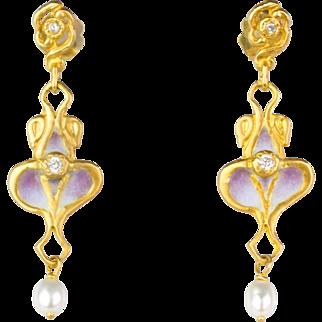 Vintage Art Nouveau Style 18K Gold Diamond Plique-a-Jour Enamel Earrings   Pearl Drop   Beautiful Design