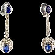 Long Vintage 18K Gold Diamond Sapphire Earrings  Deco Style  Sparkle  Lovely