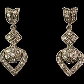Pretty Vintage 18K Gold Diamond .85ctw Drop Earrings  Lots of Sparkle  Great Design