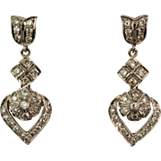 Pretty Vintage 18K Gold Diamond .85ctw Drop Earrings  Lots of Sparkle  Great Design