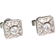 Lovely 18K Gold Diamond .92 ctw Stud Earrings  Square  Tons of Sparkle  Special
