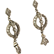 Vintage18K 1.00ctw Diamond Drop Earrings  Gorgeous Style Sparkly