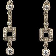 Vintage 18K White Gold 1.49 ctw Diamond Drop Earrings  Full of Sparkle  Stunning