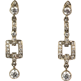 Vintage Deco-Style 18K Gold Diamond 1.49 ctw Drop Earrings   Full of Sparkle   Special!!