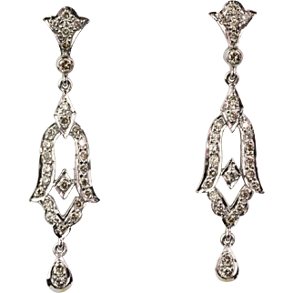 Art Deco Style 18K Gold Diamond .84ctw Chandelier Earrings  Full of Sparkle  Stunning  Top Quality