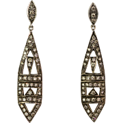 Vintage Art Deco Style Long 18K Gold Diamond 1.5ctw Earrings  Egyptian Revival Design  Stunning