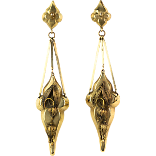 EXTREMELY RARE Antique Victorian Very Long 88mm 14K Gold Earrings  Truly One of a Kind  Top Quality