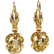 Lovely Vintage 14K Gold Yellow Citrine Drop Earrings  Buttercup Setting  Unique