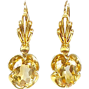 Lovely Vintage 14K Gold Citrine Drop Earrings Buttercup Setting  Unique