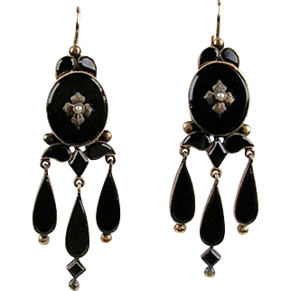 Stunning Antique Victorian 14K Gold Onyx Chandelier Earrings  Lovely with Sparkle  Quality  RARE