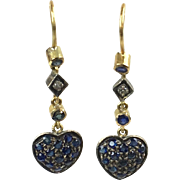 Pretty Vintage 18K Gold Sapphire & Diamond Heart Drop Earrings