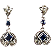 Lovely Vintage 18K Gold Diamond & Sapphire Drop Earrings   Delicate   Pierced