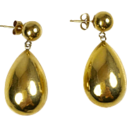 Nice Vintage 14K Gold Large Tear Drop Earrings   Hollow   Lightweight