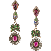 Absolutely Stunning Long Vintage 14K Gold Muli-Stone Earrings  Very Colorful  Quality Design  Flowers