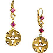 Vintage Art Deco 18K Gold Diamond & Ruby Drop Earrings  Gorgeous Design  Top Quality  RARE