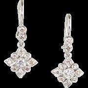 Gorgeous Vintage 18K Gold Diamond 1.40ctw Snowflake Earrings  Full of Sparkle