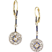 Antique Edwardian Platinum & 14K Gold Diamond Sapphire Drop Earrings  Full & Rose Cuts  RARE  Gorgeous!!