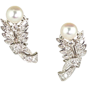 Really Lovely Vintage Platinum Diamond  & Cultured Pearl Earrings  Pierced  Top Quality