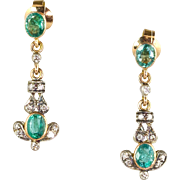 Delicate Vintage 18K Gold Emerald Diamond Drop Earrings  Sparkle & Style