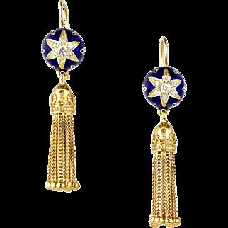 Stunning Long Victorian Style 14K Gold Diamond Tassel Earrings  Cobalt Blue Enamel