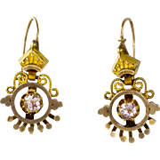Antique Victorian Etruscan Revival Gold Front Paste Earrings  Granulation  Lovely  RARE