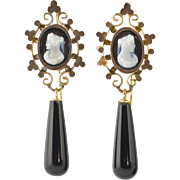 Antique Victorian 14K Gold Sardonyx Hard Stone Cameo Earrings  Long Onyx Drops  Top Quality  STUNNING