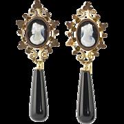 Antique Victorian 14K Gold Sardonyx Hard Stone Cameo Earrings  Long Onyx Drops  Top Quality  STUNNING