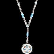 RARE Art Deco 1930s Sterling Silver Guilloche Enamel Locket On 28 Inch Chain ~ Special!!