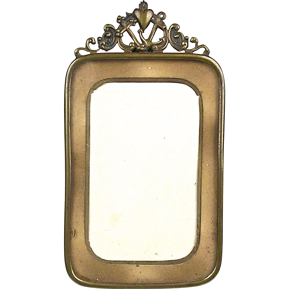 Antique Repousse Brass Picture Frame Faith Hope Amp Charity