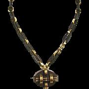Antique Victorian Gold & Gutta Percha Necklace  Detachable Pin / Pendant   VERY RARE