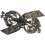 Vintage Hobe Pin   Signed   Sterling Silver  Bow   Flowers  Exquisite Detail    Rare   Fabulous