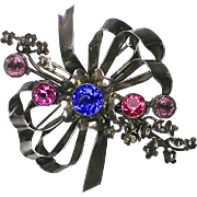 Rare Fabulous Vintage Huge Jeweled Hobe Pin   Signed   Sterling Silver   Bezeled Crystals