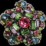 Stunning RARE Vintage Hollycraft Pin  Flower ~ Big & Bold ~ Signed ~ Sparkle