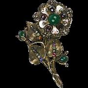 Large Antique Hungarian Garnet & Genuine Stones Flower Pin Silver Gold Enamel RARE