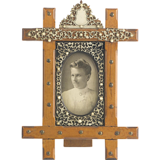 Antique Wood & Filigree Faux-Ivory Picture Frame Rare  Beautiful Detail