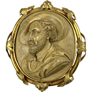 Museum Quality Large Victorian Figural Lava Cameo Pin   18K Gold Frame   Man in Hat   High Relief   RARE