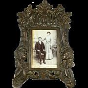 Large Antique Art Nouveau Bronze on Iron Picture Frame   Original Photo   Putti   Lady Flowing Hair   Figural   RARE