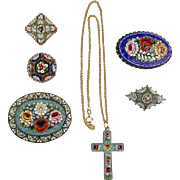Collection of 6pc Victorian Micro Mosaic  Pins & Necklace Tiny Tesserae  Top Quality Lot J