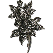 Stunning RARE Art Deco Marcasite Pin Brooch   Sterling Silver  Rhodium  Flower Spray  Top Quality