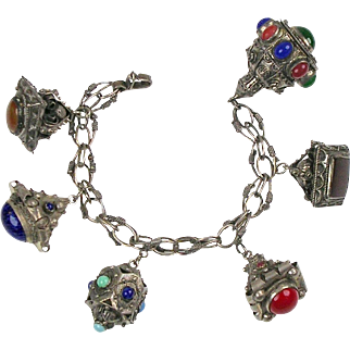 Vintage Bedouin Middle Eastern Chunky Fob Charm Bracelet  800 Silver  Semi Precious Stones  RARE