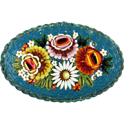 Large Early 20thc Micro Mosaic Pin Brooch   Very Colorful Flowers    Beautiful   RARE