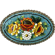RARE Large Oval Early 20thC Micro Mosaic Pin Brooch   Raised Designs   Very Colorful Flowers