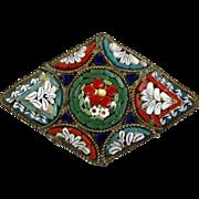 Italian Early 20thc Micro Mosaic Pin Brooch   Colorful   Fine Workmanship