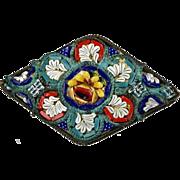 Italian Early 20thc Micro Mosaic Pin Brooch   Fine Workmanship  Colorful