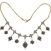 Antique Italian Micro Mosaic Necklace with Drops  Exquisite Detail  A Beauty  RARE