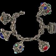 Vintage Bedouin Middle Eastern Chunky Fob Charm Bracelet  800 Silver  Semi Precious Stones  RARE