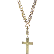 Antique Victorian 14K Gold Book Chain with Large Cross  Necklace  Pendant  VERY RARE