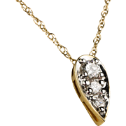 Lovely Art Deco 14K Gold Teardrop Diamond .35ctw Pendant  Lots of Sparkle  Top Quality