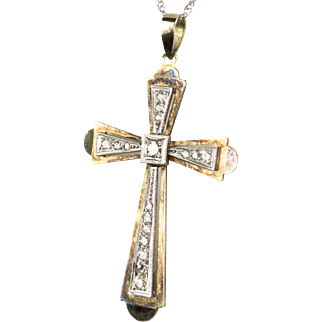 Vintage Art Deco Diamond Cross on Chain  14K Yellow & White Gold  Beautiful & Special  RARE