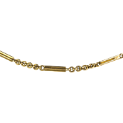 """Antique Victorian 14K Gold Watch Chain 16"""" Necklace  Bars & Rings  Very Unique"""